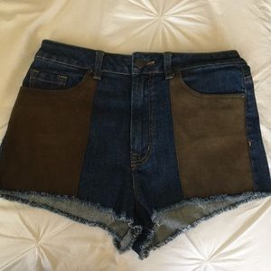 BDG high waisted denim shorts with suede
